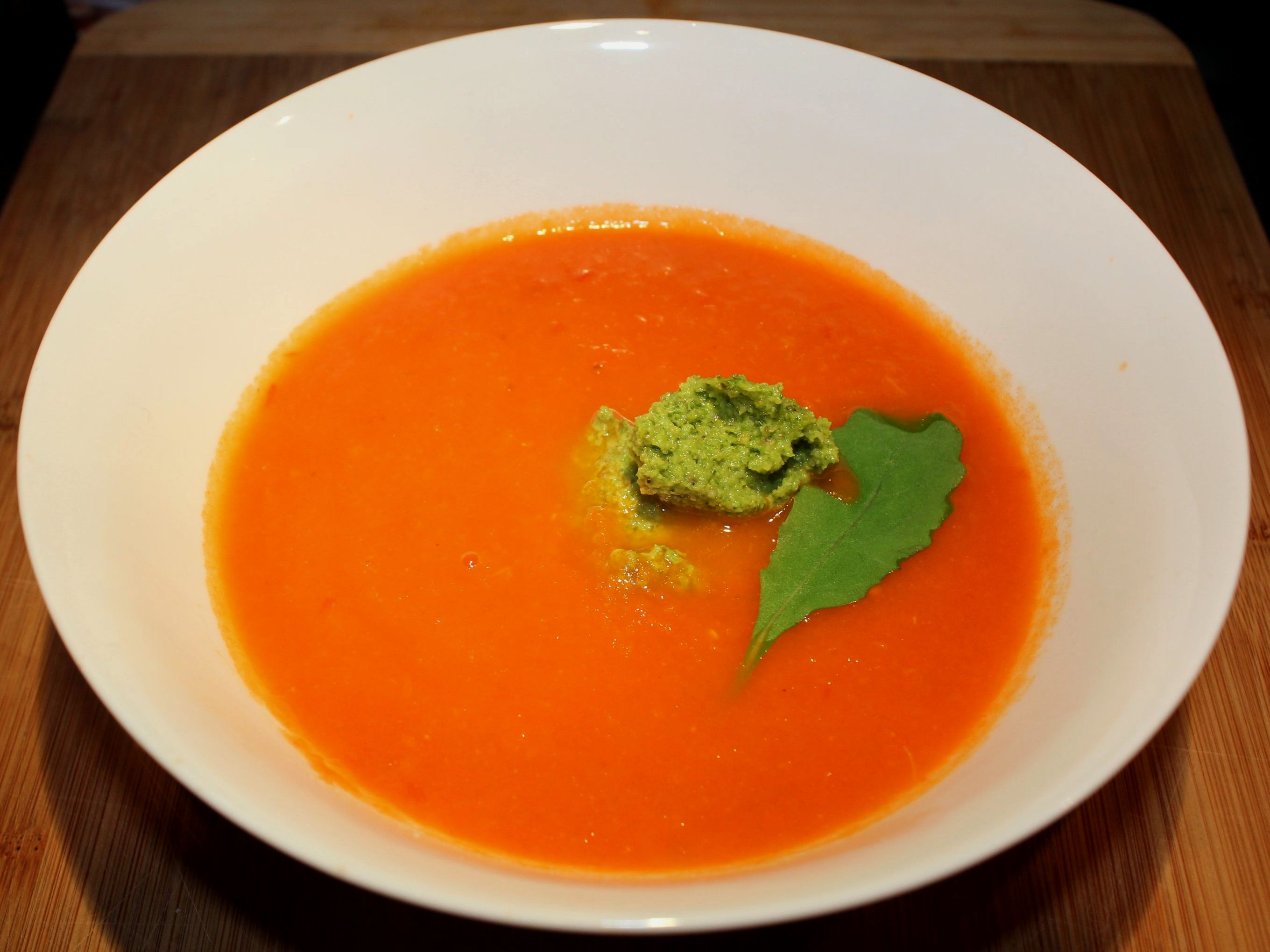Spicy Tomato Soup with Rocket Pesto | The Foodie Librarian