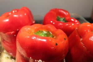 Roasted Red Capsicum stuffed with Couscous- pre cooking