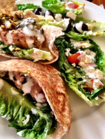 Chicken Kofte Pitta's with Greek Salad